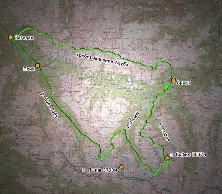 Обзорная схема маршрута