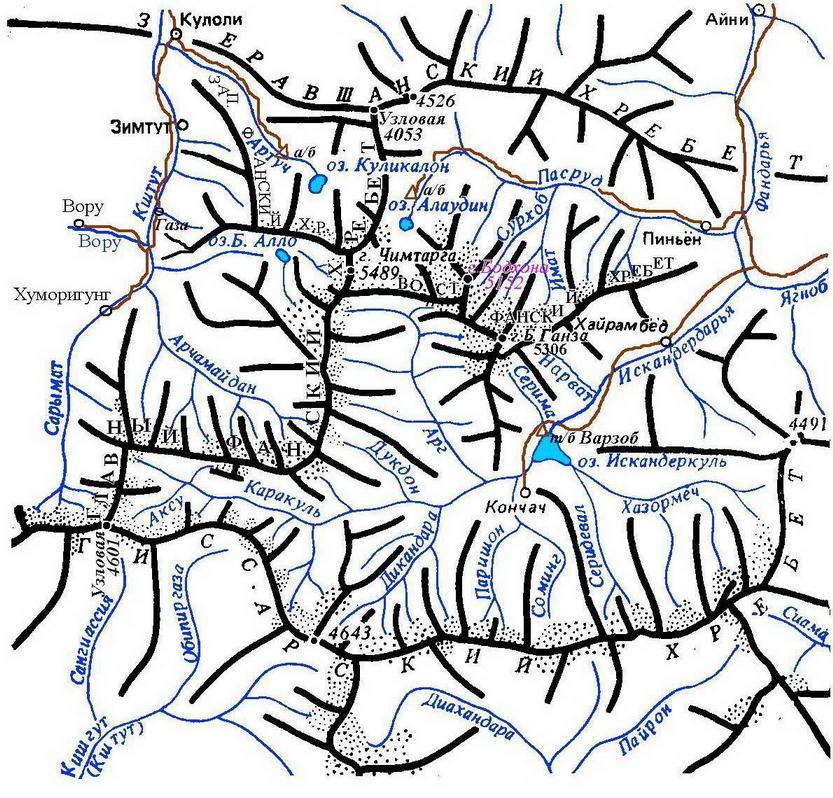 Орографическая схема Фанских