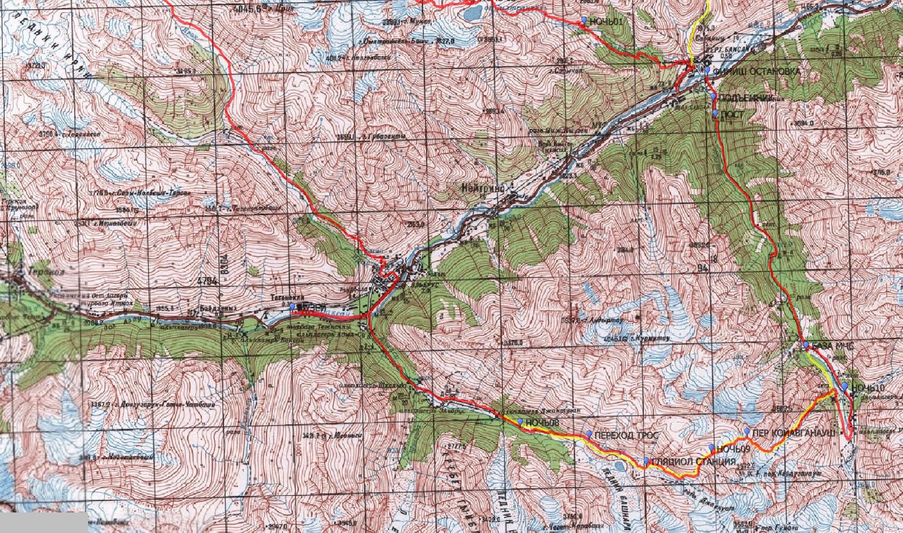 Детальная карта похода