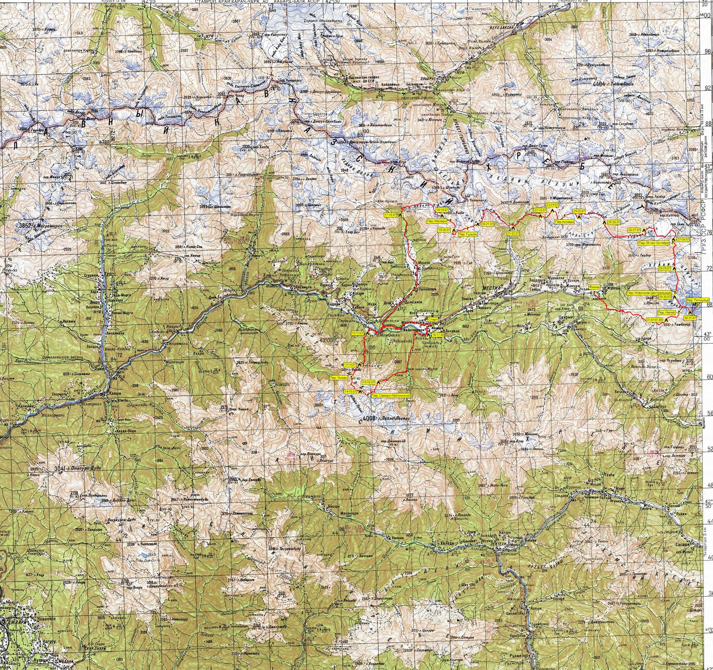 Обзорная карта маршрута. Фрагмент номенклатурного листа Генерального штаба К-38-VII (1:200 000)