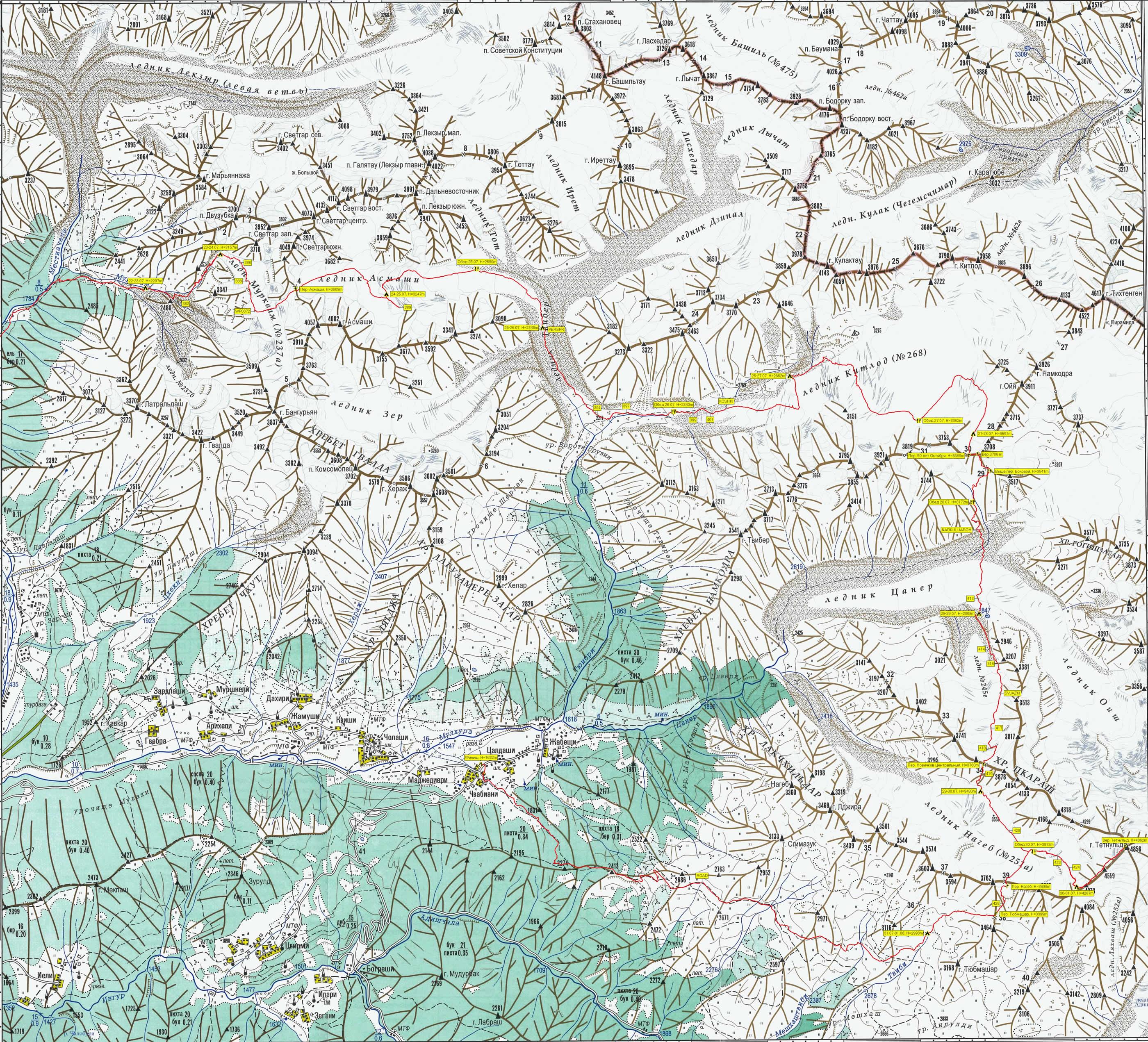 Фрагмент листа туристской схемы В. Ляпина K-38-26-г (1:50 000)